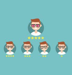 Star rating system set emotional portraits vector