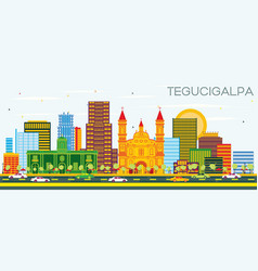 tegucigalpa honduras city skyline with color vector image