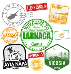 travel stamps set with canary islands vector image