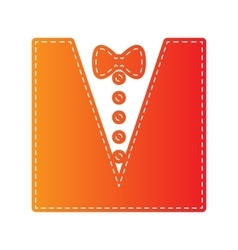 Tuxedo with bow silhouette Orange applique vector