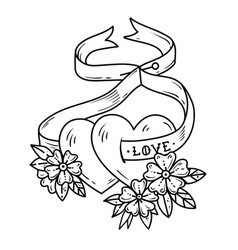 two loving hearts on tied with ribbontattoo heart vector image