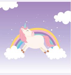 unicorn rainbow clouds mythology magical fantasy vector image