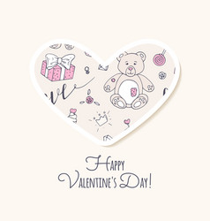 valentine day sticker love heart form vector image