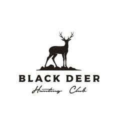 Vintage retro rustic deer silhouette logo design vector