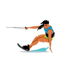 Wakeboarding Girl Cartoon vector