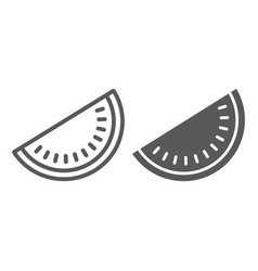 watermelon line and glyph icon fruit and vitamin vector image