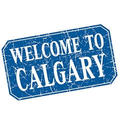 Welcome to Calgary blue square grunge stamp vector