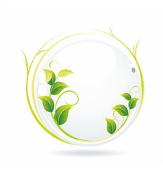 White glass ball with wet leaves vector