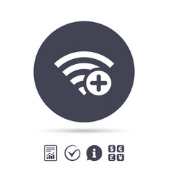 Wifi plus sign add wi-fi symbol wireless vector