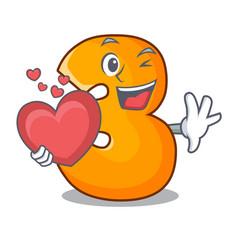 With heart cartoon number three on wooden door vector
