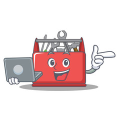 With laptop tool box character cartoon vector