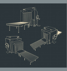 X-ray baggage scanner blueprints vector