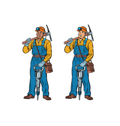african and caucasian miners with jackhammer vector image vector image