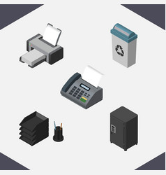 Isometric work set of printing machine office vector