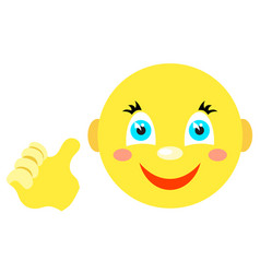 smiley with a thumbs up gesture vector image vector image