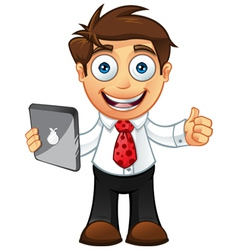 Business Man Thumbs Up With Tablet vector image vector image