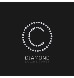 C letter with diamonds vector image vector image