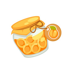 canned orange apricots or jam in small jar with vector image