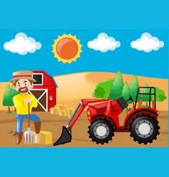 Farm scene with tractor and farmer vector