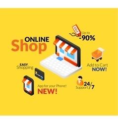 Online shopping logo set vector