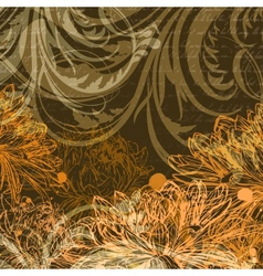 Autumn handdrawn background with chrysanthemum vector image vector image