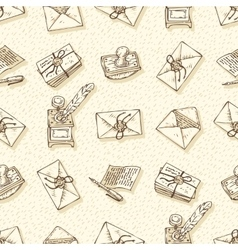 Seamless Pattern with Envelopes Ink Pens vector image
