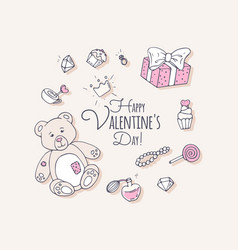 valentines day hand drawn clip art vector image