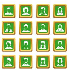 avatars set icons set green vector image vector image