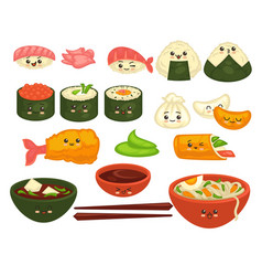 cute asian dishes with faces set on white vector image vector image
