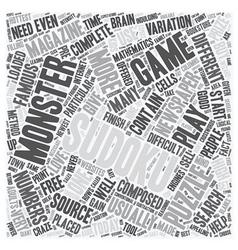 monster sudoku text background wordcloud concept vector image