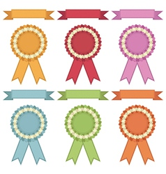 ribbons and rosettes vector image vector image