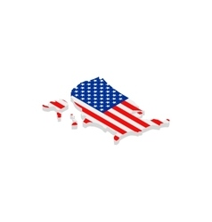 USA map with flag isometric 3d icon vector image