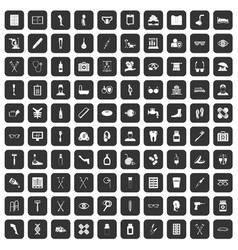 100 disabled healthcare icons set black vector image