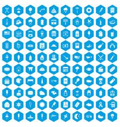 100 street food icons set blue vector