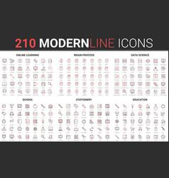 210 modern red black thin line icons set school vector