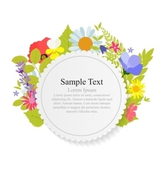 Abstract Natural Frame with Flowers and Leaves vector image