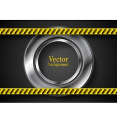 Abstract tech background with danger tape vector image