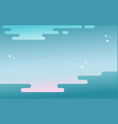 Abstract wavy seascape blue background vector