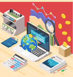 Accountant workplace isometric composition vector