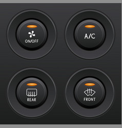 Air conditioner buttons set car dashboard black vector