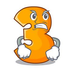 Angry cartoon number three on wooden door vector