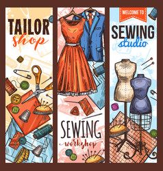 atelier tailoring and sewing studio sketch banner vector image
