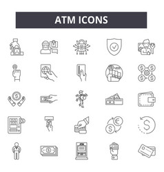 Atm line icons for web and mobile design editable vector