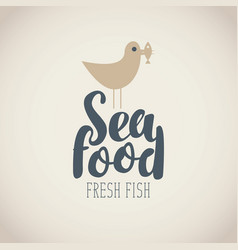 banner for seafood with seagull fish and words vector image
