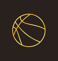 basketball ball concept linear golden icon vector image