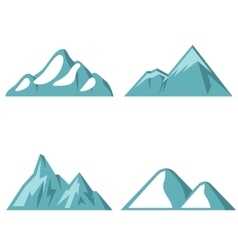 Blue mountain flat icons on white background vector