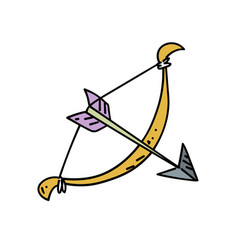 bow and arrow cartoon hand drawn image vector image
