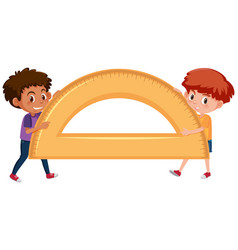Boys holding protractor on white background vector