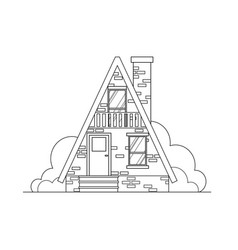 brick house flat line architecture design vector image