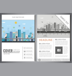 brochure design template with urban landscape vector image